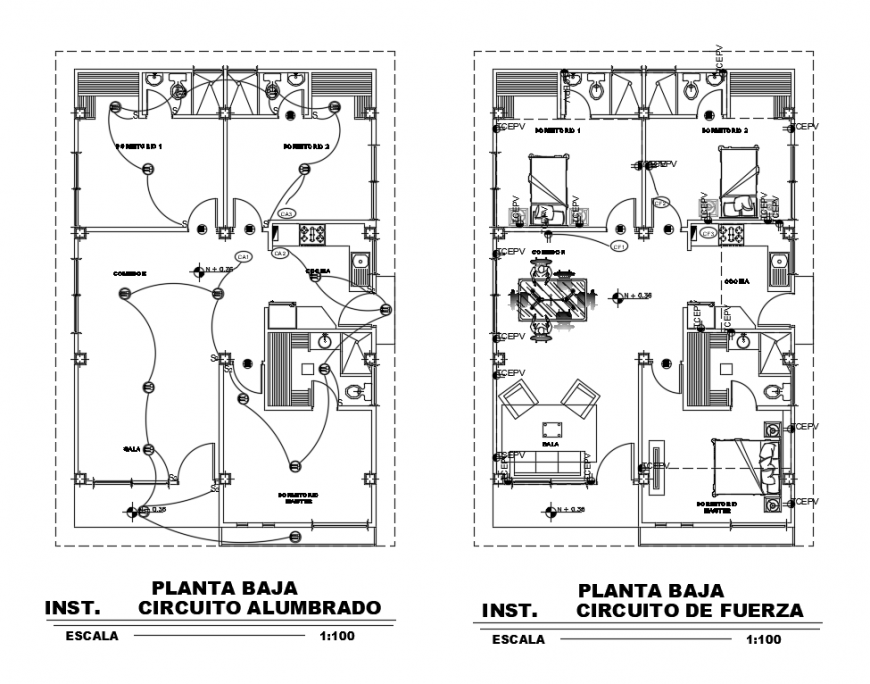 Furniture layout plan with electric layout plan dwg file