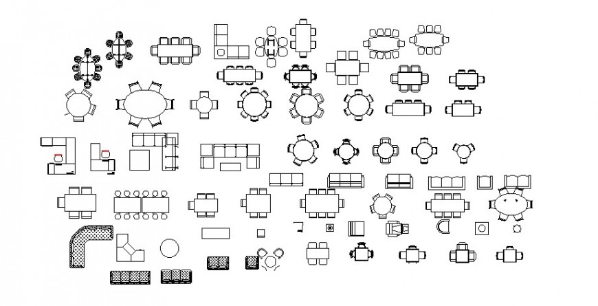 Furniture of Different types block in AutoCAD