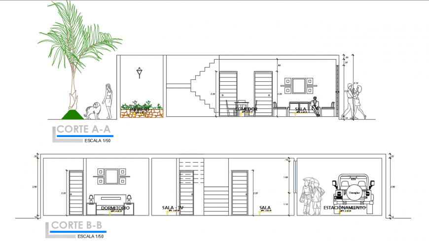 Furniture sectional inner detail dwg file