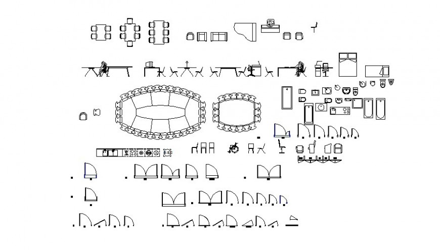 Furniture units and other drawings in Autocad