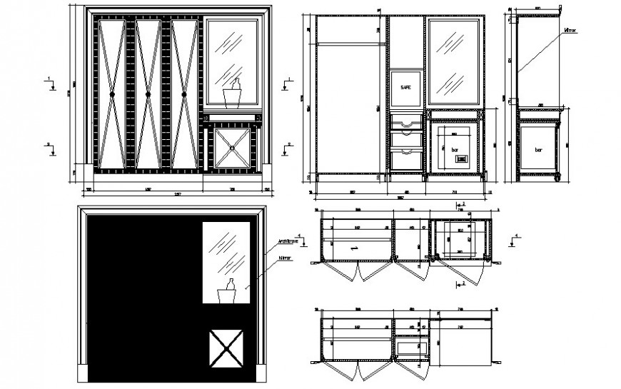 Furniture units drawing of wardrobe 2d view autocad file