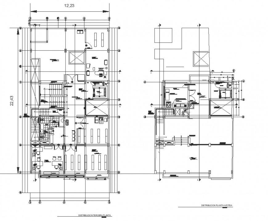 G+3 floor hospital floor plan drawing in dwg file.