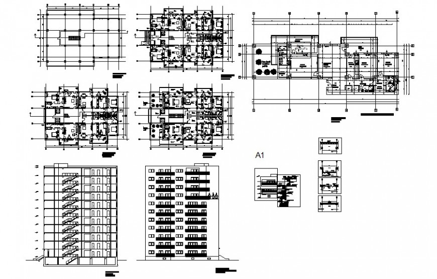 G+9 building drawings details elevation plan and section autocad file