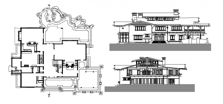 Gamble house main and back elevation and cover plan cad drawing details dwg file