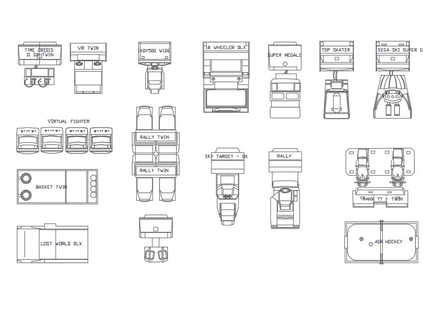Game room game equipment furniture equipment cad blocks details dwg file