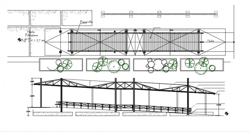 Gang plank park ramp structure and landscaping automation details dwg file