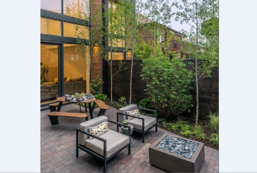 Garden and balcony 3d view with furniture of bungalow jpg file