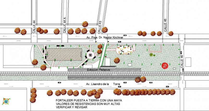 Garden and plaza design in dwg file.
