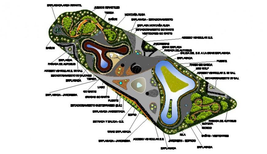 Garden area details 2d view layout plan autocad file