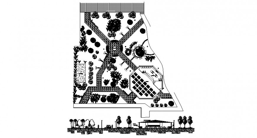 Garden area plan 2d drawing in autocad format