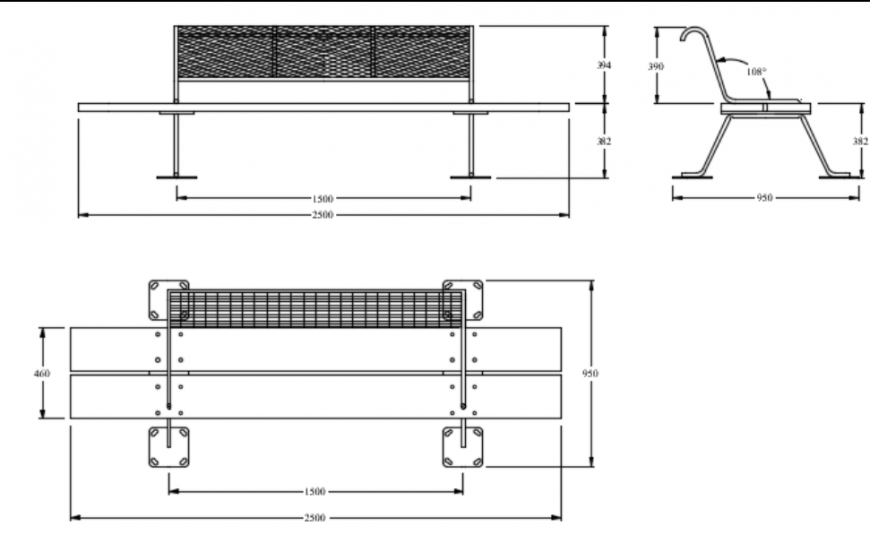 Garden bench plan and elevation