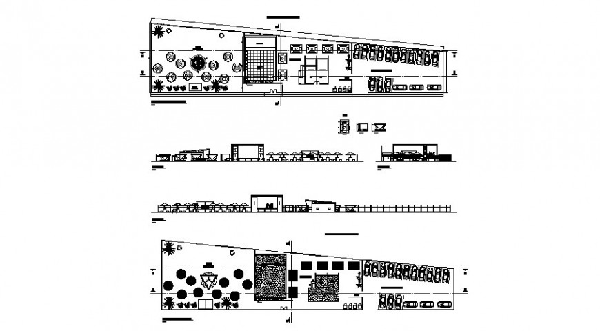 Garden cafeteria with beer bar elevation, section and plan cad drawing details dwg file
