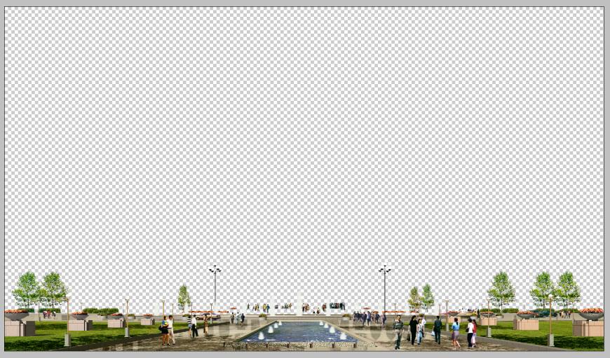 Garden detail 3d model elevation Photoshop file