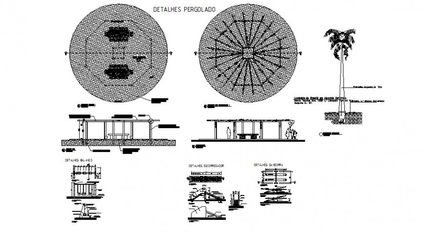 Garden equipment and furniture cad drawing details dwg file