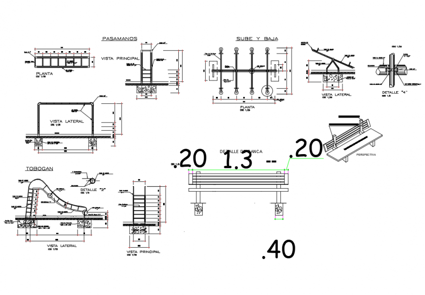 Garden equipment structure and auto-cad details dwg file