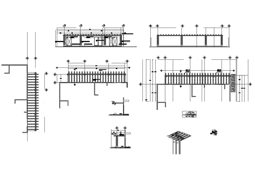 Garden equipment wooden pergola and perimeter fence cad drawing details dwg file