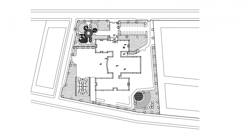 Garden for school landscaping structure drawing details dwg file