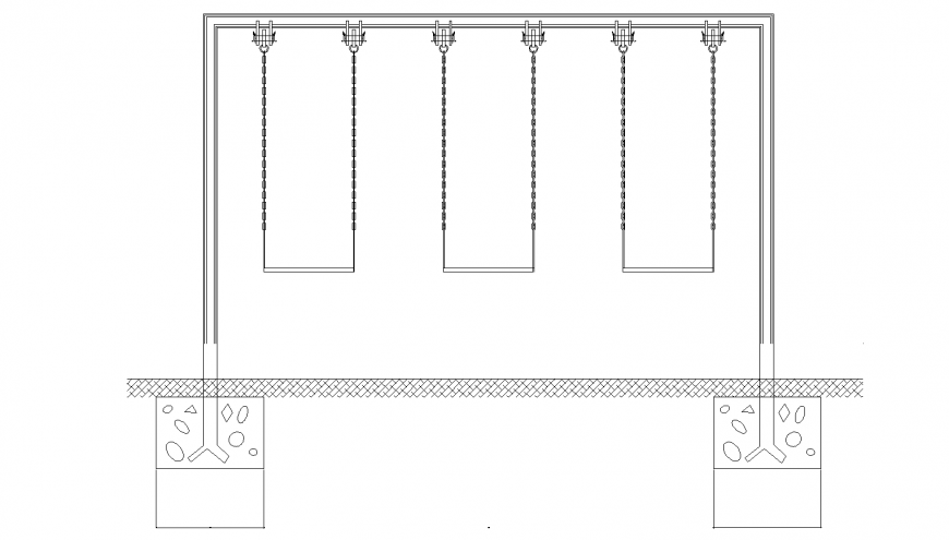 Garden games swing equipment detail drawing in dwg AutoCAD file.