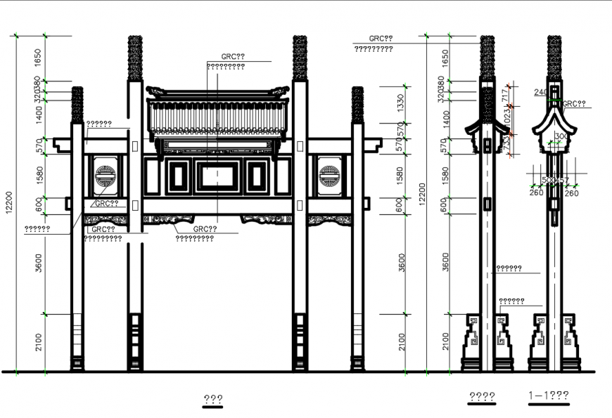 Garden gate and pillars front elevation cad drawing details dwg file