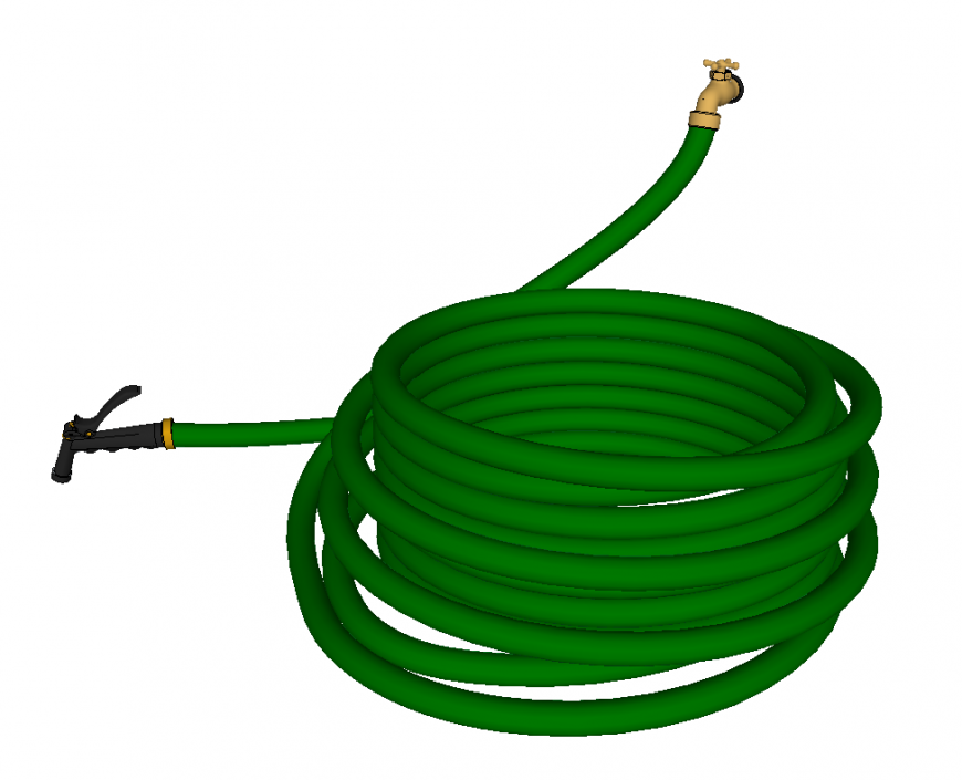 Garden hose detail elevation 3d model sketch-up file