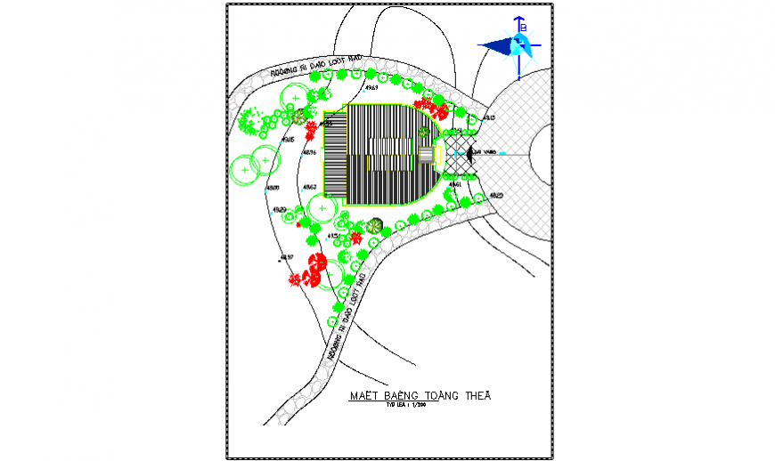 Garden Landscaping layout of community center design drawing