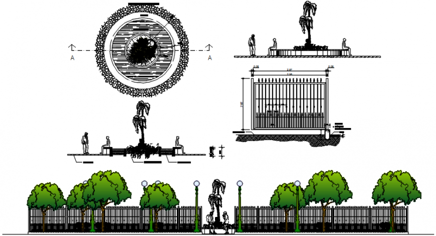 Garden main gate elevation with fence and foundation dwg file