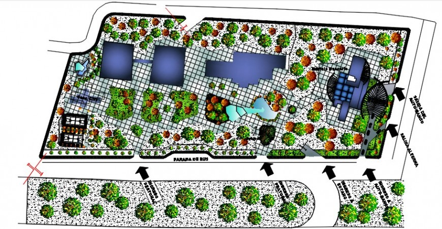 Garden of private bank landscaping structure drawing details dwg file