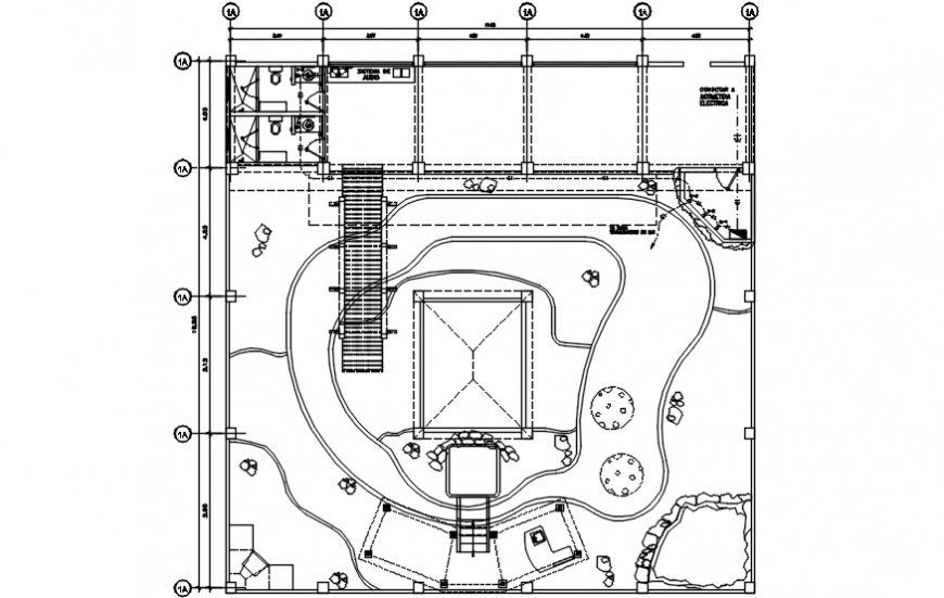 Garden of resort layout plan and landscaping structure details dwg file