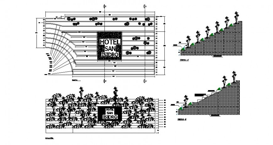 Garden pedestal walk and landscaping structure details of Isidro hotel dwg file