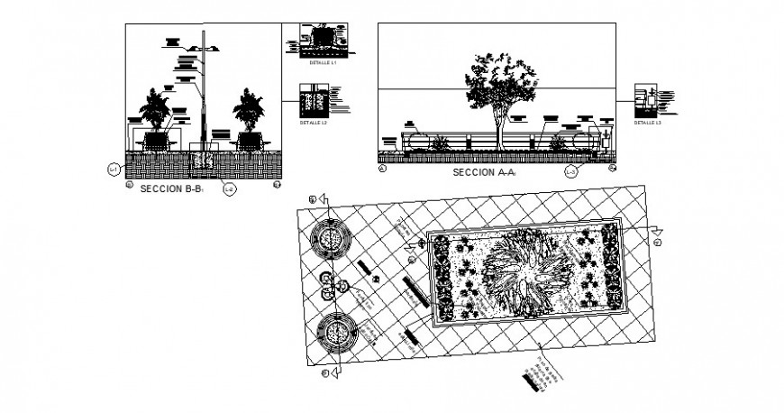 Garden plan and section drawing in dwg AutoCAD file.