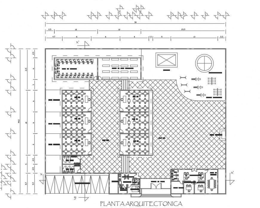 Garden restaurant distribution plan and landscaping structure details dwg file