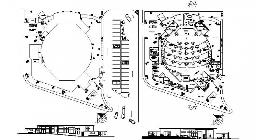 Garden restaurant main elevation, section and distribution plan drawing details dwg file