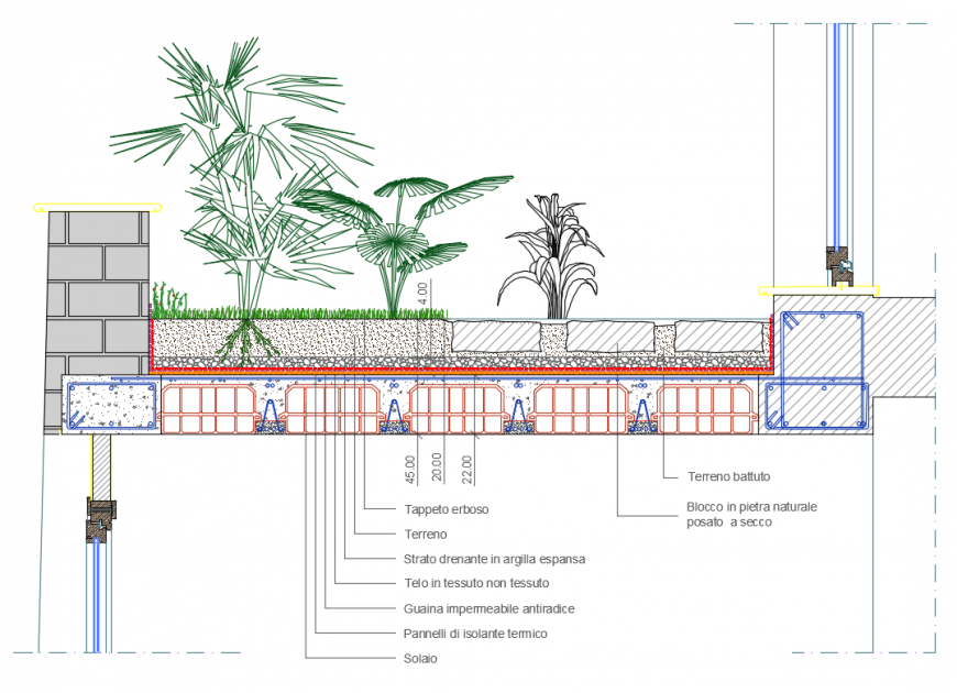 Garden roof cad drawing auto-cad details dwg file
