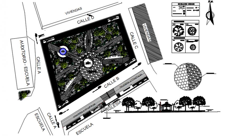 Garden sectional top view plan detailing dwg file