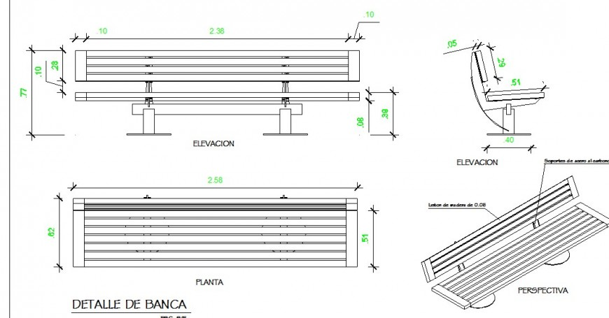 Garden sitting bench detail 2d view CAD furniture block plan and elevation CAD furniture block layout dwg file