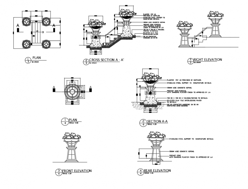 Garden stone planter elevations, sections and plan details dwg file