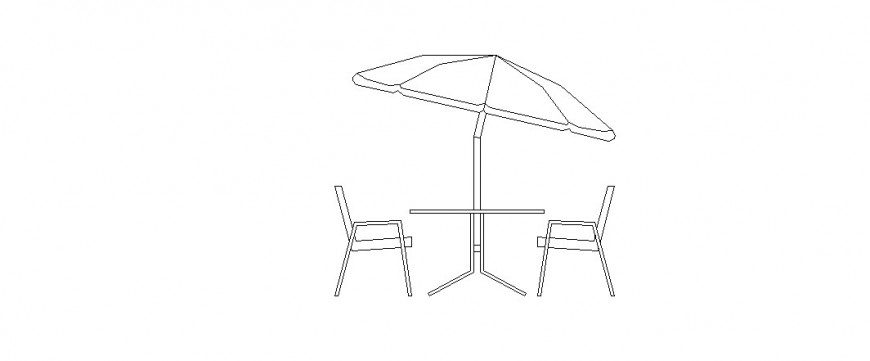 Garden table and chair elevation blocks with umbrella cad drawing details dwg file