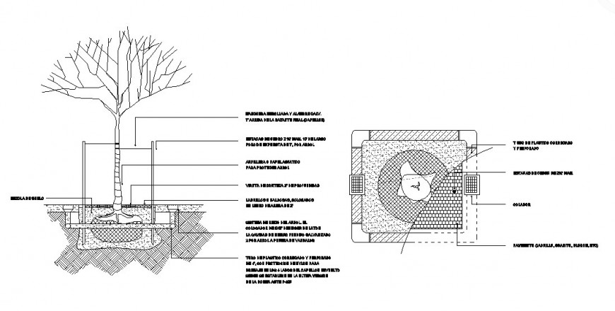 Garden tree plantation, automation and landscaping structure details dwg file