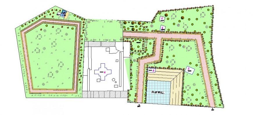 Garden with temple layout plan and landscaping structure details dwg file