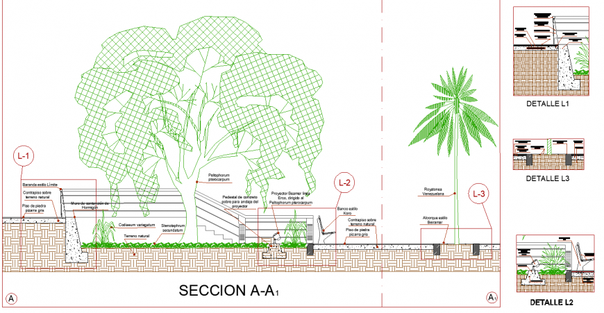 Gardening detail section drawing in dwg file.