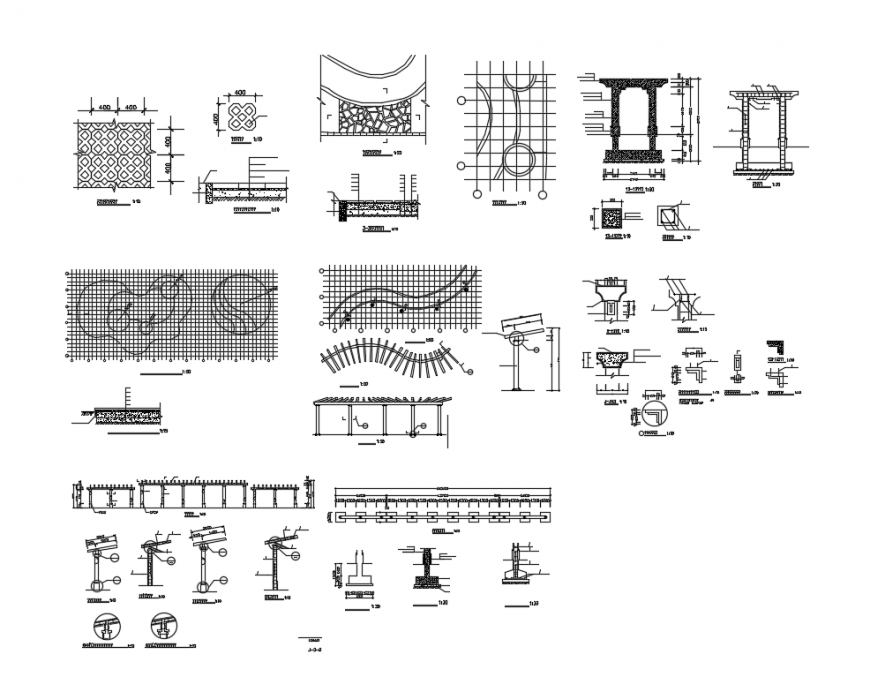 Gardens flower rack construction cad drawing details dwg file