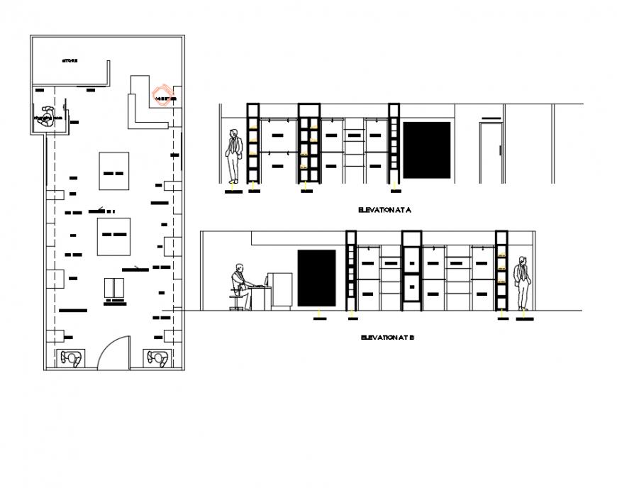Garment shop elevation, section and plan details dwg file