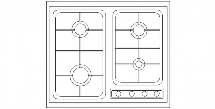 Gas cookware top view detail