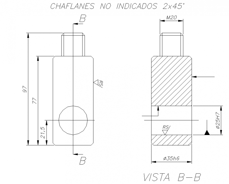 Gas cylinder front view detailing plan dwg file.