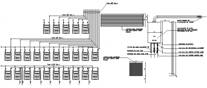 Gas installation and plan details for hospital building dwg file