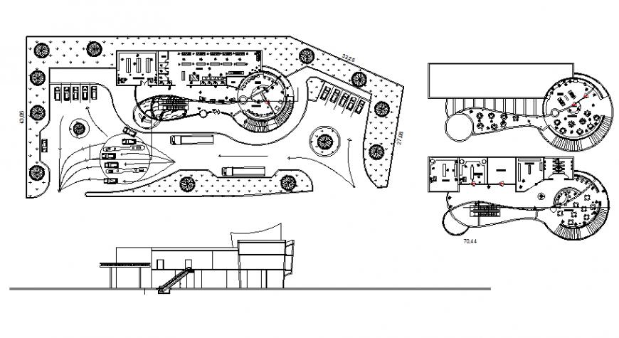 Gas station mini mall design restaurant pharmacy stores modern plan autocad file