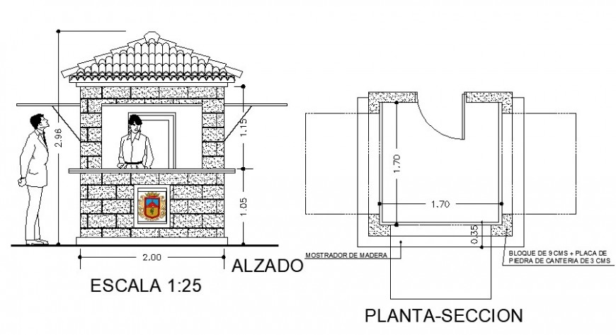 Gazebo of garden house type elevation and sectional plan details dwg file