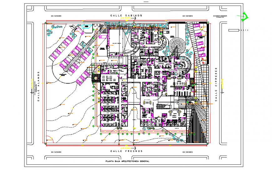 General architectural low floor Lay-out detail in DWG file