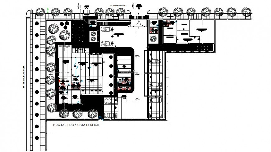General distribution layout plan details of local hospital building dwg file