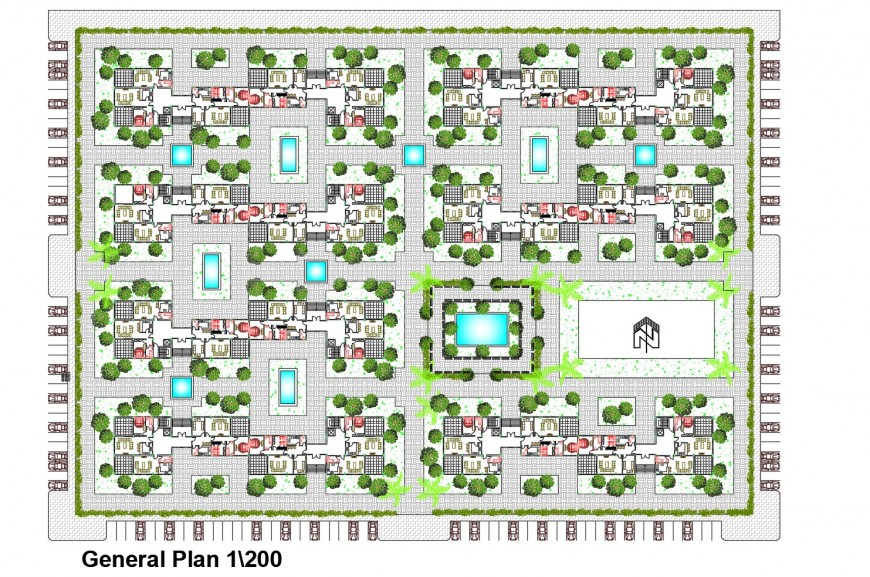 General distribution plan details of residential apartment building cad drawing details dwg file